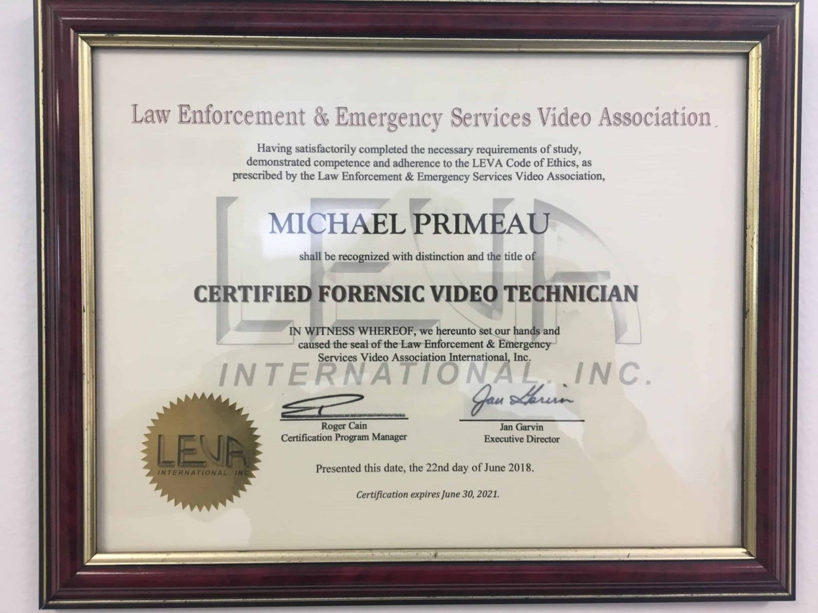 Certified Forensic Video Technician