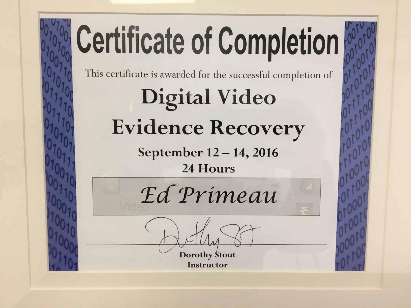 Digital-Video-Evidence-Recovery-Edward-Primeau Meet Edward Primeau, CCI, CFC