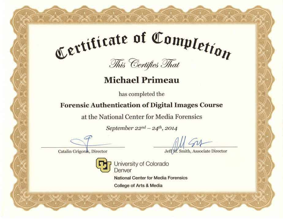 Forensic-Image-Authentication- Meet Michael Primeau, FVT